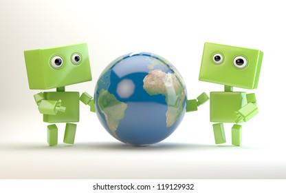 Two android toys behind the globe / Robots hold earth
