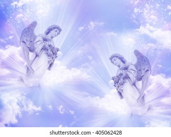 two angels in blue purple tonality