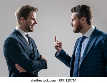 two angry businessmen arguing having struggle for leadership on businessmeeting have business competition, misunderstanding.