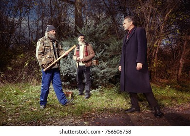Two angry homeless older men met manager man in park