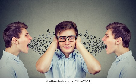 Two angry men screaming at peaceful guy covering his ears with hands ignoring them, alphabet letters coming out of mouth.