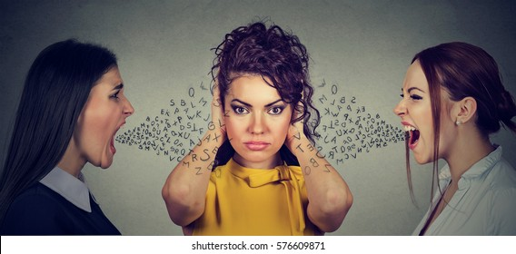 Two angry women screaming at peaceful girl covering her ears with hands ignoring them, alphabet letters coming out of mouth. Anger management emotional intelligence concept