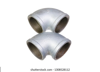 Two angular connecting steel pipes plumbing with a diameter of two inches with internal thread isolated on white background