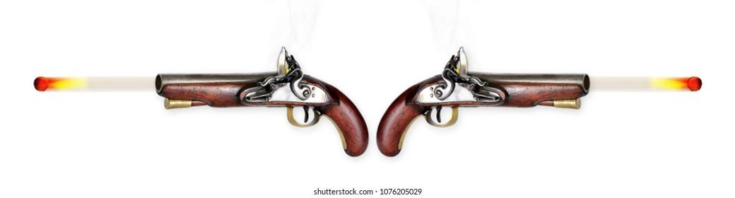 Two antique flintlock pistols firing musketballs.