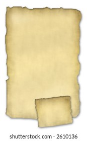 two antique parchment like papers on a white background with torn edges and shadow