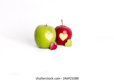 two apple with heart theme
