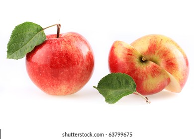 Two apples isolated on white.