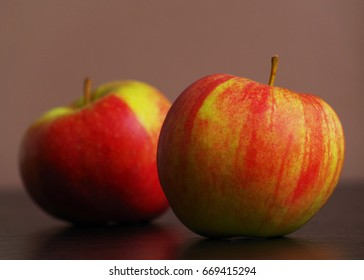 Two Apples on table, close up