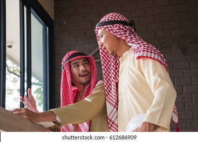 Two Arabian men student are in study room