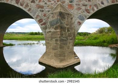 Two arches of a masonry bridge