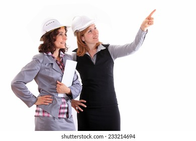 Two architect woman talking each other