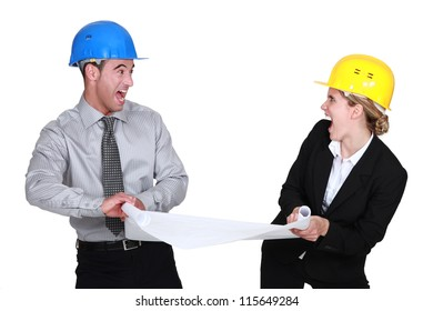 Two architects fighting over plans