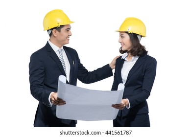 Two architects at work isolated on white
