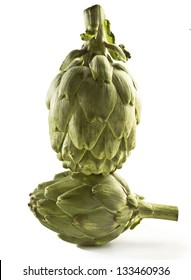 two artichokes heart on white background