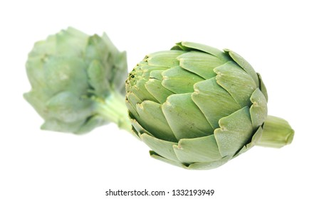 Two artichokes isolated on white