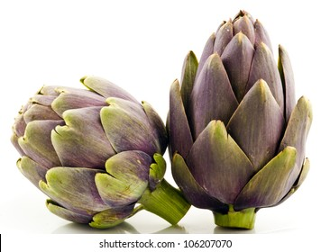 Two Artichokes on White