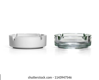 Two ashtrays isolated on white background