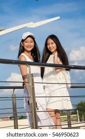 two asia thai high school student Best friends beautiful girl smile and funny