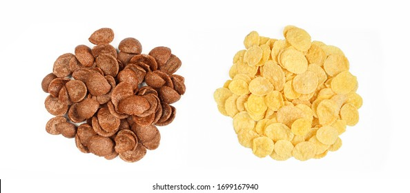 Two assorted groups of dry cereals. Cornflakes isolated on white background. Top view