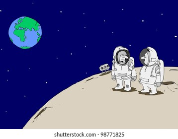 Two astronauts on the moon talking about Earth