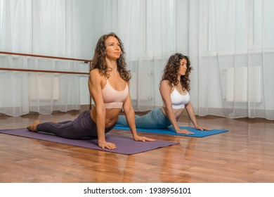 Two attractive athletic girls train asana yoga pose on mats on a light background. A group of young women stretch out in the gym. Healthy lifestyle concept