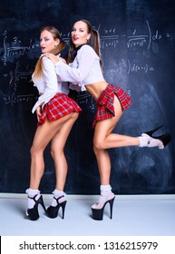 two attractive striptease dancers dressed as schoolgirls against a chalkboard in the classroom