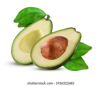 Two avocado cut in half with bone and green leaf isolated on white background Clipping Path - Shutterstock ID 1936322683