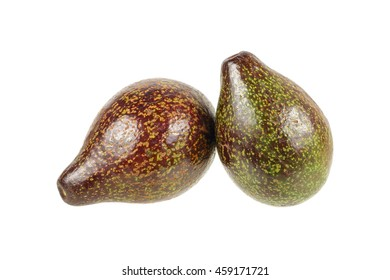it is two avocados isolated on white.