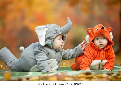 Two baby boys dressed in animal costumes in autumn park