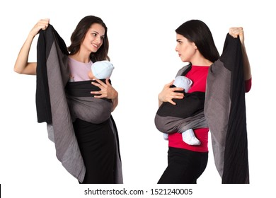Two babywearing mothers with woven wraps carriers