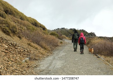 Two backpacker trek on the route of the Mount Hehuan (Hehuanshan) that is on the borders of Nantou and Hualien counties within Taroko National Park and is a 3416-metre-high mountain in Central Taiwan.