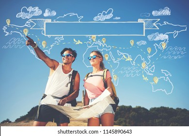 Two backpackers enjoying scenery nature view while hiking in National Park. Couple of hikers planning next way to explore holding map during travel. Infographics illustration map with top destinations