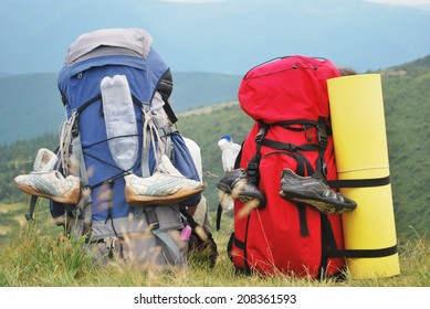 two backpacks close up