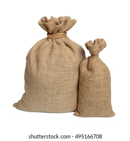 Two bags from a sacking isolated on a white background.