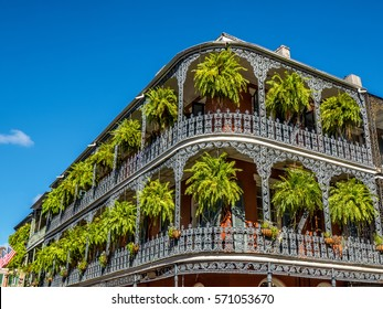 Two Balconies with Green Hanging Plants in the French Quarter of New Orleans LA USA.  Many interesting doors and balconies are located in the Quarter.