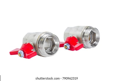 Two ball valves with red handles