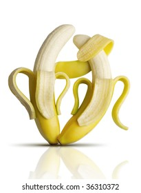 Two bananas dancing tango