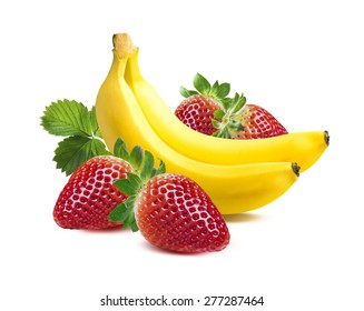 Two bananas strawberry square composition isolated on white background as package design element