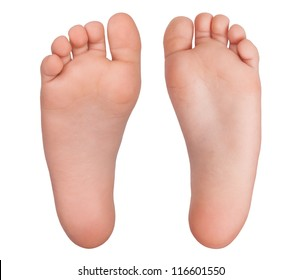 Two bare human feet on a white background
