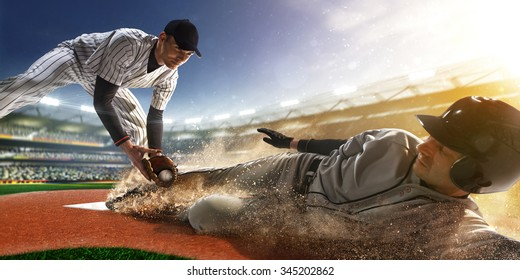two baseball player the in action on grand arena