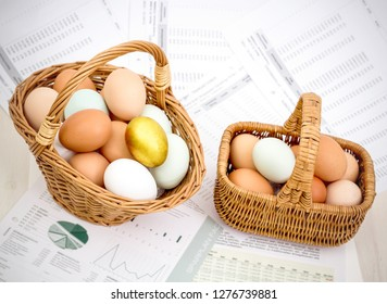 Two baskets with eggs, minimize risk on investment, top view