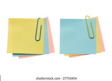 Two batch notes with paper-clip isolated on white background