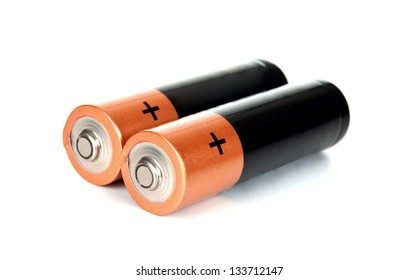 Two batteries on a white background  isolated on white