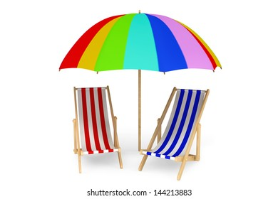Two beach chairs under sunshade on a white background