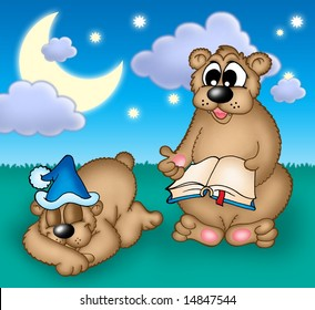 Two bears under evening sky - color illustration.