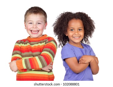 Two beautiful children isolated on a over white background