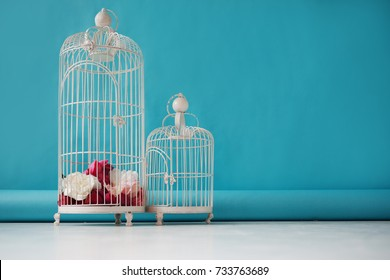 Two beautiful empty birdcages on a blue background, the floral decor.