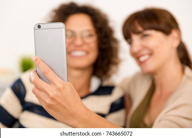 Two beautiful firends at home making  a selfie