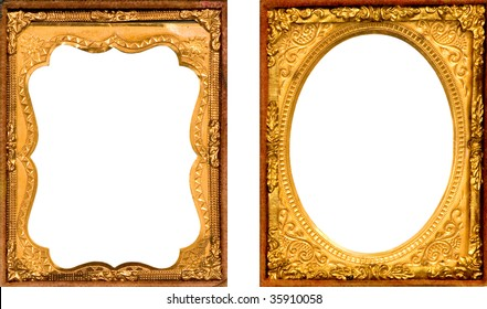 TWO BEAUTIFUL GOLD METAL DAGUERREOTYPE PICTURE FRAMES