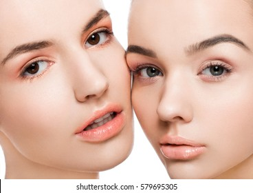 Two beautiful models with natural beauty makeup on white background